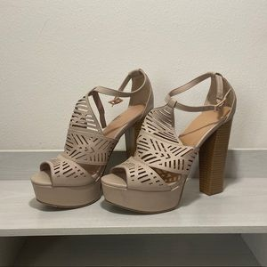 NWT Laser Cut Out Nude Pumps